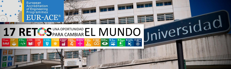 Imagen fachada Escuela de Caminos, Canales y Puertos con el cartel de la parada de metro